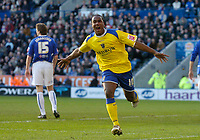 Photo: Glyn Thomas.<br />Leicester City v Cardiff City. Coca Cola Championship. 21/01/2006.<br />Cardiff's Cameron Jerome celebrates after his header gives his team a 1-0 lead.