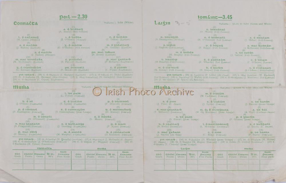 nterprovincial Railway Cup Football Cup Final,  17.03.1958, 03.17.1958, 17th March 1958, referee P MacDiarmuda, Connacht 2-07, Munster 0-08, Football Team Connacht, A Brady, W Casey, I O'Dowd, T Dillon, J Mahon, G O' Malley, M Greally, J Nallen, F Evers, M McDongah, S Purcell, P McGarty, G Kirwan, F Stockwell, C Flynn, Football Team Munster, L Power, J O'Shea, T Lyons, P Driscoll, P Harrington, T Cunningham, D Murray, M O'Connell, S Moore, N Fitzgerald, J Dowling, P Ryan, P Sheehy, M Murphy, D Kelleher, .Interprovincial Railway Cup Hurling Cup Final,  17.03.1958, 03.17.1958, 17th March 1958, referee S O Fallcobair, Leinster 3-05, Munster 3-07, Hurling Team Leinster, O Walsh, N Drumgoole, N O'Donnell, J Maher, J English, P Buggy, J McGovern, M Brophy, J Sutton, D Heaslip, E Wheeler, C O'Brien, M Kenny, B Dwyer, S Clohessy, Hurling Team Munster, M Cashman, J Finn, J Lyons, J Barron, T McGarry, M Og Morrissey, A Wall, S Power, P Grimes, D Kelly, L Moloney, J Doyle, J Smith, C Ring, P Barry,  .
