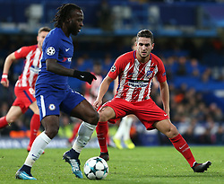5 December 2017 - Champions League Football - Chelsea v Atletico Madrid - Koke of Atletico Madrid watches Victor Moses of Chelsea - Photo: Charlotte Wilson / Offside
