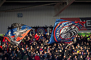 Crystal Palace fans with flags during the The FA Cup 5th round match between Doncaster Rovers and Crystal Palace at the Keepmoat Stadium, Doncaster, England on 17 February 2019.