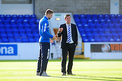 Bristol Rovers' Ryan Brunt talks to Bristol Rovers Manager, Darrell Clarke - Photo mandatory by-line: Neil Brookman/JMP - Mobile: 07966 386802 - 22/11/2014 - Sport - Football - Chester - Deva Stadium - Chester v Bristol Rovers - Vanarama Football Conference