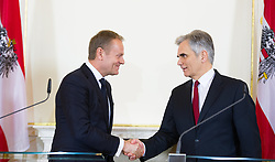 01.03.2016, Bundeskanzleramt, Wien, AUT, Staatsbesuch, Österreichischer Bundeskanzler empfängt den Ratspräsidenten der EU, im Bild v.l.n.r. EU Ratspräsident Donald Tusk und Bundeskanzler Werner Faymann (SPÖ) // f.l.t.r. President of the European Council Donald Tusk and Federal Chancellor of Austria Werner Faymann during state visit of the President of the European Council at federal chancellors office in Vienna, Austria on 2016/03/01, EXPA Pictures © 2016, PhotoCredit: EXPA/ Michael Gruber