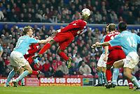 Liverpool's Emile Heskey stretches to head the ball against Sunderland during the Premiership match at Anfield, Liverpool, Sunday, November 17th, 2002. <br /><br />Pic by David Rawcliffe/Propaganda<br /><br />Any problems call David Rawcliffe on +44(0)7973 14 2020 or email david@propaganda-photo.com - http://www.propaganda-photo.com