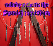 Famous humourous quotes series: Nobody expects the Spanish inquisition in a BDSM bondage dungeon, tools and instruments (Monty Python)