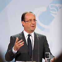 DEU, Deutschland, Germany, Berlin, 15.05.2012:<br />Der französische Präsident Francois Hollande während einer Pressekonferenz im Bundeskanzleramt.