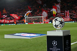 March 6, 2018 - Liverpool, U.S. - 6th March 2018, Anfield, Liverpool, England; UEFA Champions League football, round of 16, 2nd leg, Liverpool versus FC Porto; the Champions League match ball on display in the technical area as the Kop wave huge banners (Photo by Dave Blunsden/Actionplus/Icon Sportswire) ****NO AGENTS---NORTH AND SOUTH AMERICA SALES ONLY****NO AGENTS---NORTH AND SOUTH AMERICA SALES ONLY* (Credit Image: © Dave Blunsden/Icon SMI via ZUMA Press)