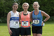 NO FEE PICTURES<br /> 19/5/18 Hundreds of people of all ages lapped up the summer sunshine when they came out to support an important cause which is close to many of their hearts, organ donation, by taking part in the Irish Kidney Association's 'Run for a Life' family fun run which took place at Corkagh Park, Clondalkin, Dublin 22 on Saturday 19th May.   (www.runforalife.ie) Pictured Ciara Devitt, 2nd 10 km race, Paula Guinan, 1st and Jacjie Brannigan, 3rd Picture:Arthur Carron