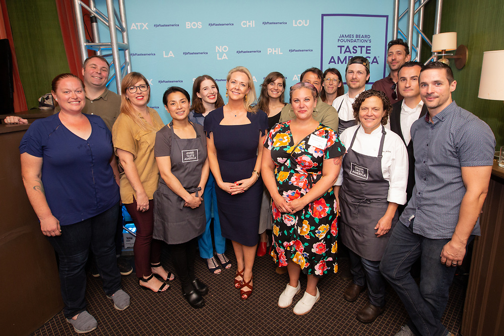 The Taste America® All Stars at the kick-off event for the James Beard Foundation's Taste America®'s 10-city national event, held August 1, 2018 at the James Beard House in New York City. <br /> <br /> CREDIT: Clay Williams for The James Beard Foundation.<br /> <br /> © Clay Williams / http://claywilliamsphoto.com