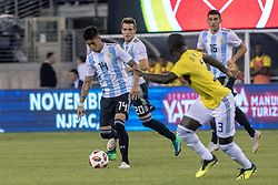 September 11, 2018 - East Rutherford, NJ, U.S. - EAST RUTHERFORD, NJ - SEPTEMBER 11: Argentina midfielder Maximiliano Meza (14) dribbles the ball during the first half of the International Friendly Soccer match between Argentina and Colombia on September 11, 2018 at MetLife Stadium in East Rutherford, NJ. (Photo by John Jones/Icon Sportswire) (Credit Image: © John Jones/Icon SMI via ZUMA Press)