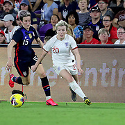England forward Lauren Hemp (20) runs past the United States forward Megan Rapinoe (15) during the first match of the 2020 She Believes Cup soccer tournament at Exploria Stadium on 5 March 2020 in Orlando, Florida USA.