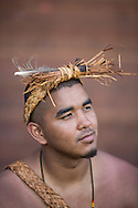 """Tribal member in native costume, at the """"Chief Seattle Days"""" celebration, a yearly native canoe crewing where the tribes of Washington, paddle to various tribal locations. This celebration was hosted by the Suquamish Tribe, located on west side of Puget Sound, Washington state. http://suquamish.nsn.us/HistoryCulture.asp"""