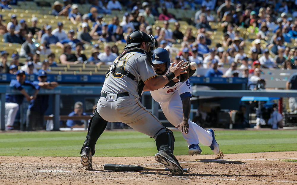 Aug 13 2016 - Los Angeles U.S. CA - LA Dodgers LF # 47 Howie Kendrick score from third base during MLB game between LA Dodgers and the Pittsburgh Pirates 8-4 win at Dodgers Stadium Los Angeles Calif. Thurman James / CSM
