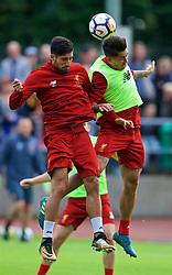 ROTTACH-EGERN, GERMANY - Friday, July 28, 2017: Liverpool's Emre Can and Roberto Firmino during a training session at FC Rottach-Egern on day three of the preseason training camp in Germany. (Pic by David Rawcliffe/Propaganda)