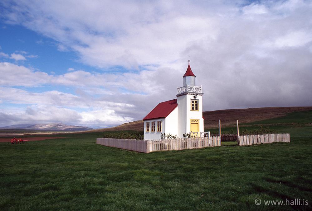 Old farm church at Reykholt in Borgarfjordur, Iceland - Kirkja að Reykholti í Borgarfirði