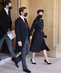 Edoardo Mapelli Mozzi and Princess Beatrice ahead of the funeral of the Duke of Edinburgh at Windsor Castle, Berkshire. Picture date: Saturday April 17, 2021.