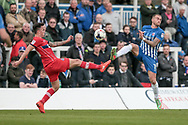 John O'Sullivan (Carlisle United) and Lewis Alessandra (Hartlepool United) go for the same ball during the EFL Sky Bet League 2 match between Hartlepool United and Carlisle United at Victoria Park, Hartlepool, England on 14 April 2017. Photo by Mark P Doherty.