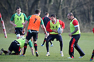 Mike Phillips © looks for a way past Alex Cuthbert. Wales rugby team training at the Vale Resort, Hensol near Cardiff on Tuesday 5th March 2013.  pic by  Andrew Orchard, Andrew Orchard sports photography,