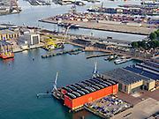 Nederland, Zuid-Holland, Rotterdam, 14-09-2019; Haven Rotterdam, Charlois, de wijk Heijplaat. RDM-campus (voormaligeRotterdamsche Droogdok Maatschappij), Havenbedrijf Rotterdam  (HBR). Onderzeebootloods en Dokhaven.<br /> Port of Rotterdam, Charlois with the Heijplaat district. RDM campus (former Rotterdamse Droogdok Maatschappij). Submarine shed and Dokhaven.<br /> <br /> luchtfoto (toeslag op standard tarieven);<br /> aerial photo (additional fee required);<br /> copyright foto/photo Siebe Swart