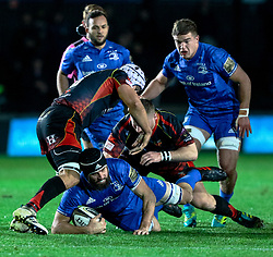 Scott Fardy of Leinster is tackled by Ollie Griffiths of Dragons<br /> <br /> Photographer Simon King/Replay Images<br /> <br /> Guinness PRO14 Round 10 - Dragons v Leinster - Saturday 1st December 2018 - Rodney Parade - Newport<br /> <br /> World Copyright © Replay Images . All rights reserved. info@replayimages.co.uk - http://replayimages.co.uk