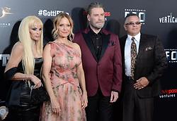 """Victoria Gotti, Kelly Preston, John Travolta and John A. Gotti at the premiere of """"Gotti"""" in New York City."""