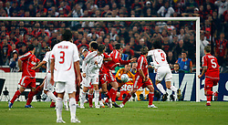 Athens, Greece - Wednesday, May 23, 2007: AC Milan's Filippo Inzaghi deflects the ball after Massimo Ambrosini takes a free kick during the UEFA Champions League Final at the OACA Spyro Louis Olympic Stadium. (Pic by David Rawcliffe/Propaganda)