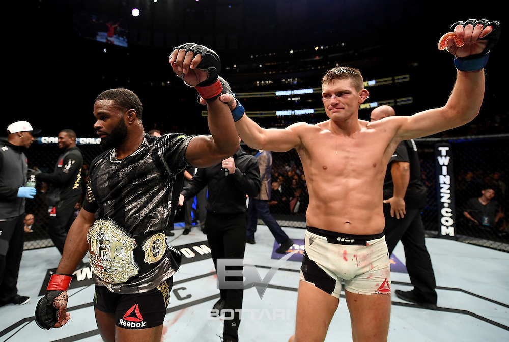 NEW YORK, NY - NOVEMBER 12:  Stephen Thompson of the United States (right) and Tyron Woodley of the United States (left) have their fight declared a majority draw in their welterweight championship bout during the UFC 205 event at Madison Square Garden on November 12, 2016 in New York City.  (Photo by Jeff Bottari/Zuffa LLC/Zuffa LLC via Getty Images)