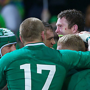 Ireland celebrates a try by Keith Earls, during the Ireland V Italy Pool C match during the IRB Rugby World Cup tournament. Otago Stadium, Dunedin, New Zealand, 2nd October 2011. Photo Tim Clayton...