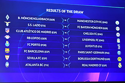 NYON, SWITZERLAND - Monday, December 14, 2020: The completed draw shown on the big screen during the UEFA Champions League 2020/21 Round of 16 draw at the UEFA Headquarters, the House of European Football. (Photo Handout/UEFA)