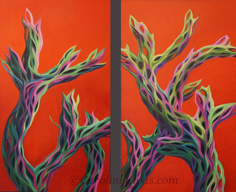 Cholla cacti are widely found in the Southwest deserts, and provide endless opportunities for playing with shape and color!<br /> Diptych, oil on panel, each panel 12 x 24<br /> For more information, please call 480-483-5663