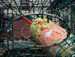 Lobster Buoy and Trap, Castine, Maine, US