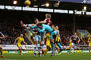 Ben Mee of Burnley gets above Rotherham United Goalkeeper Lee Camp but his effort goes wide. Skybet football league Championship match, Burnley v Rotherham United at Turf Moor in Burnley, Lancs on Saturday 20th February 2016.<br /> pic by Chris Stading, Andrew Orchard sports photography.
