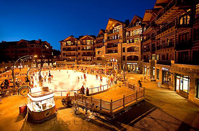 Ice skating at Northstar Ski Resort. Lake Tahoe, CA
