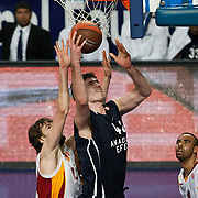 Anadolu Efes's Stanko Barac (C) during their Turkish Airlines Euroleague Basketball Top 16 Game 1 match Anadolu Efes between Galatasaray at Sinan Erdem Arena in Istanbul, Turkey, Thursday, January 19, 2012. Photo by TURKPIX