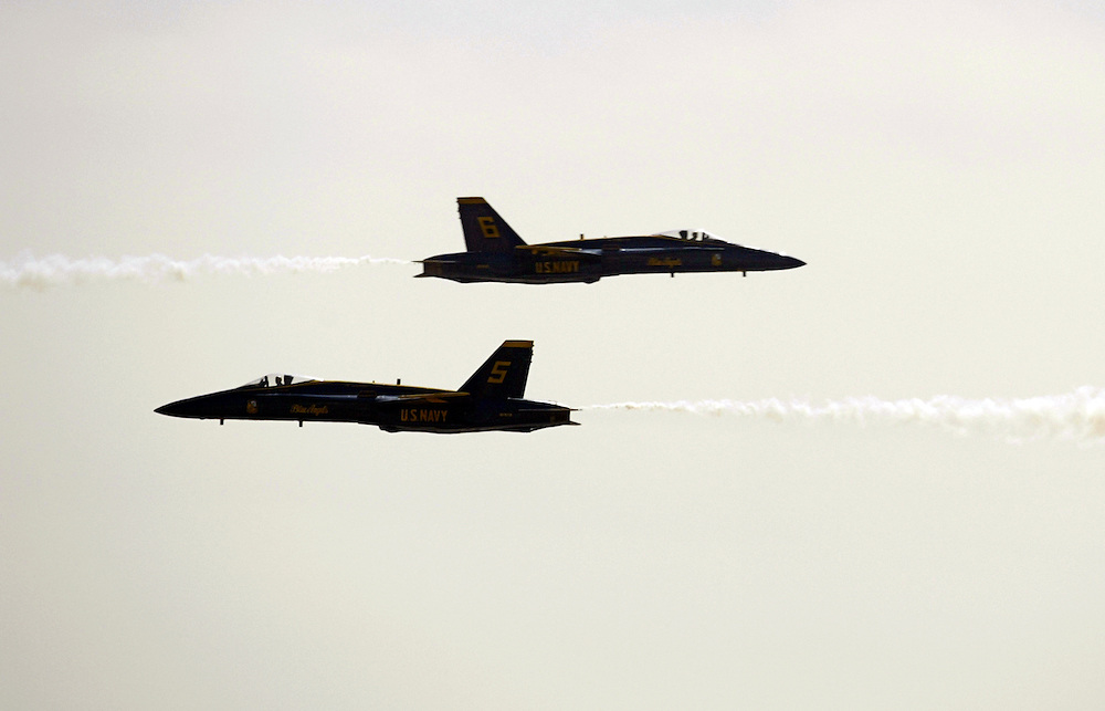 SAN DIEGO, CA - OCTOBER 15, 2004:  The Blue Angels fly their F-18 Hornets at the Miramar Air Show on October 15, 2004, in San Diego, CA. (Photo by Todd Bigelow/Aurora)