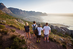 Hikers overlooking Camps Bay from Lions Head, Cape Town, South Africa. 08/01/15. Photo by Andrew Tallon