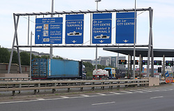 Lorries exiting Dublin Tunnel where Ireland's first average speed camera enforcement system is set to go live on June 1, 2017.