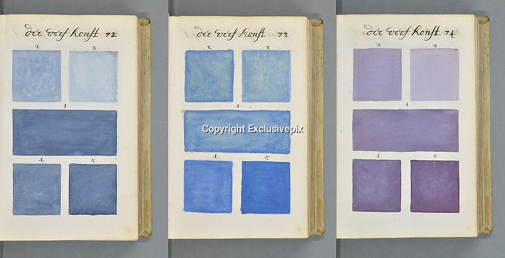 """271 Years Before Pantone, an Artist Mixed and Described Every Color Imaginable in an 800-Page Book<br /> <br /> In 1692 an artist known only as """"A. Boogert"""" sat down to write a book in Dutch about mixing watercolors. Not only would he begin the book with a bit about the use of color in painting, but would go on to explain how to create certain hues and change the tone by adding one, two, or three parts of water. The premise sounds simple enough, but the final product is almost unfathomable in its detail and scope.<br /> <br /> Spanning nearly 800 completely handwritten (and painted) pages, Traité des couleurs servant à la peinture à l'eau, was probably the most comprehensive guide to paint and color of its time. According to Medieval book historian Erik Kwakkel who translated part of the introduction, the color book was intended as an educational guide. The irony being there was only a single copy that was probably seen by very few eyes.<br /> <br /> It's hard not to compare the hundreds of pages of color to its contemporary equivalent, the Pantone Color Guide, which wouldn't be published for the first time until 1963.<br /> ©Erik Kwakkel/Exclusivepix"""