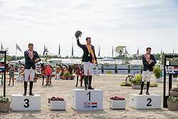 Podium Seniors, Houtzager Marc, Smolders Harry, Dubbeldam Jeroen<br /> Nederlands Kampioenschap Springen<br /> De Peelbergen - Kronenberg 2020<br /> © Hippo Foto - Dirk Caremans<br />  09/08/2020