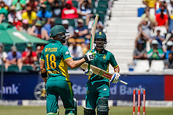 Faf du Plessis of SA Celebrates his 50 during the 2nd ODI match between South Africa and Australia held at The Wanderers Stadium in Johannesburg, Gauteng, South Africa on the 2nd October  2016<br /> <br /> Photo by Dominic Barnardt/ RealTime Images