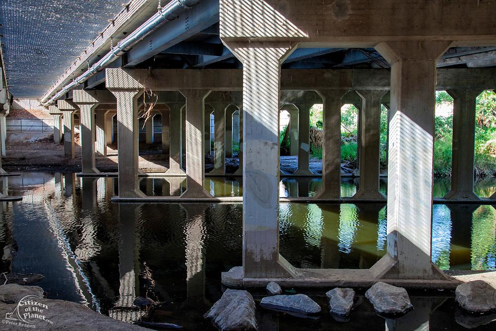 Los Angeles River under Balboa Blvd, Sepulveda Basin Recreation Area, Los Angeles, California, USA