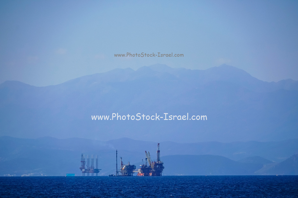 View of the Sea and oil rig from the city old town of Kavala,  Macedonia, Greece