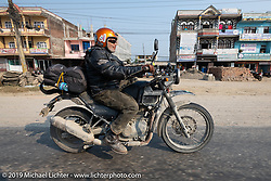 Cool Beans Chris Marino riding a Royal Enfield Himalayan in Motorcycle Sherpa's Ride to the Heavens motorcycle adventure in the Himalayas of Nepal. Riding from Chitwan to Daman. Tuesday, November 12, 2019. Photography ©2019 Michael Lichter.