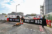 Dozens of London based environmental activists are seen protesting the continuation of HS2 Limited construction in Cardington Street near Euston station on Monday, May 4, 2020. Protesters have been dispersed under CoVid legislation with a police sergeant reportedly having said that all protests, including peaceful and even law-abiding protests, are now effectively banned. (Photo/ Vudi Xhymshiti)