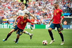 July 1, 2018 - Moscow, Russia - 180701 Roman Zobnin of Russia and Jordi Alba and Sergio Ramos of Spain during the FIFA World Cup round of 16 match between Spain and Russia on July 1, 2018 in Moscow..Photo: Petter Arvidson / BILDBYRÃ…N / kod PA / 92080 (Credit Image: © Petter Arvidson/Bildbyran via ZUMA Press)