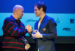 Andrej Krasevec and Blaz Kavcic at Slovenian Tennis personality of the year 2016 annual awards presented by Slovene Tennis Association Tenis Slovenija, on December 7, 2016 in Siti Teater, Ljubljana, Slovenia. Photo by Vid Ponikvar / Sportida