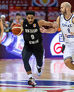 NANJING,CHINA:SEPTEMBER 5th 2019.FIBA World Cup Basketball 2019 Group phase match.Group F. New Zealand vs Greece.Shooting Guard, Corey WEBSTER pushes away Point Guard Nick CALATHES (R) of Greece.<br /> Photo by Jayne Russell / www.PhotoSport.nz