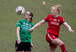 BIRKENHEAD, ENGLAND - Sunday, March 14, 2021: Coventry United's Katy Morris, wearing protective eye glasses, (L) and Liverpool's Amy Rodgers during the FA Women's Championship game between Liverpool FC Women and Coventry United Ladies FC at Prenton Park. Liverpool won 5-0. (Pic by David Rawcliffe/Propaganda)