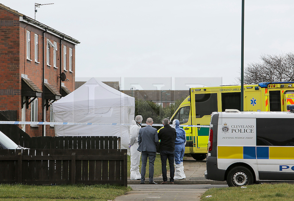 © Licensed to London News Pictures. 24/03/2016. Redcar, UK. Police forensics at the scene of a double murder in Redcar, North Yorkshire. The bodies of two women where found at the property and a 34-year-old man has been arrested on suspicion of two counts of murder  Photo credit: Stuart Boulton/LNP