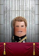"""These royal portraits created by the finger artist DITO VON TEASE<br />known as """"il Dito"""", thatÕs Italian for Òthe FingerÓ. a funny invitation to people to be curious about the complex mystery of personal identities ...  <br /><br />Photo shows: Prince Harry<br />©Exclusivepix Media"""