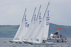 International Dragon Class Scottish Championships 2015.<br /> <br /> Day 1 racing in perfect conditions.<br /> <br /> Start with GBR622, MERLIN, Robert & Christine Riddell, SCYC\<br /> <br /> <br /> Credit Marc Turner